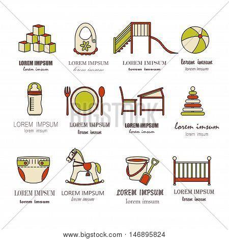 Child and baby care center color thin line icons. Kindergarten vector logo. Diaper, sandpit, slide, horse, ball, bottle, crib, pacifier.