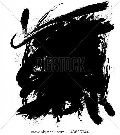 Black in blob on white background