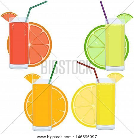 Fresh citrus juice set with slices of citrus isolated on white background. Vector illustration.