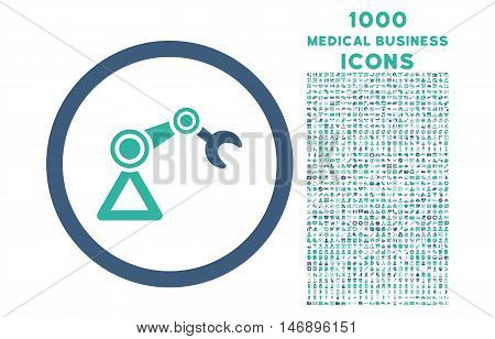 Artificial Manipulator rounded glyph bicolor icon with 1000 medical business icons. Set style is flat pictograms, cobalt and cyan colors, white background.