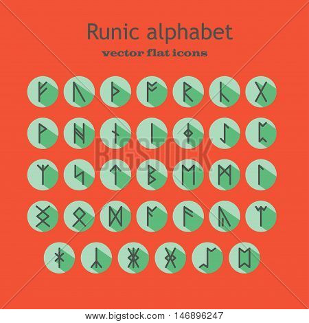 Set of Old Norse Scandinavian runes in trend flat style with long shadows. Rune alphabet. Vector