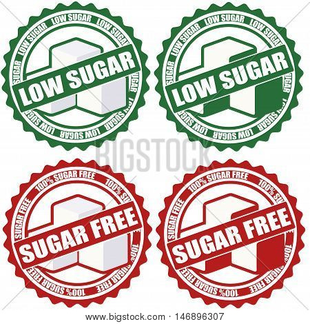 Low sugar and sugar free sticker set isolated on white background. Vector illustration.