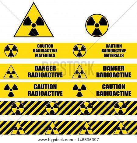 Radioactive signs and seamless warning tapes set. Vector icon.