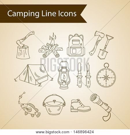 Camping holiday vector line icons. Thin liner vector icons - wood, fire, kerosene lamp, lantern, tent, knife, backpack, fishing, compass, shoes.