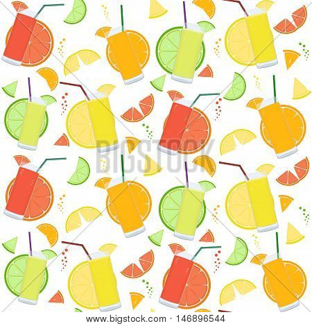 Seamless Pattern With Fresh Citrus Juices And Citrus Slices