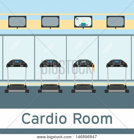 Treadmills cardio equipment in gym interior. Vector illustration in flat style. Cardio room.