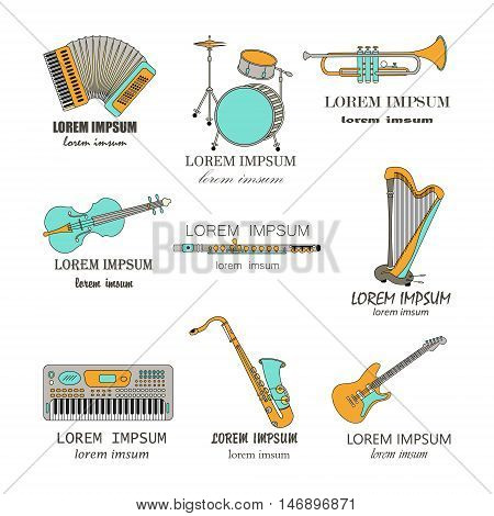 Vector thin line music logos synthesizer, drums, accordion, violin, trumpet, harp, drum, saxophone, electric guitar, flute.