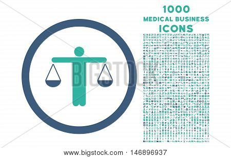 Lawyer rounded glyph bicolor icon with 1000 medical business icons. Set style is flat pictograms, cobalt and cyan colors, white background.