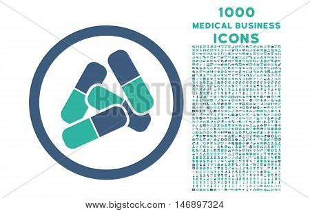 Pills rounded glyph bicolor icon with 1000 medical business icons. Set style is flat pictograms, cobalt and cyan colors, white background.