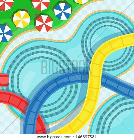 Water park with water slides swimming pools and sun loungers vector illustration.