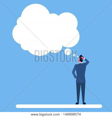 Business Man Standing Back Ponder Thinking Hold Hand On Head Chat Bubble Flat Vector Illustration