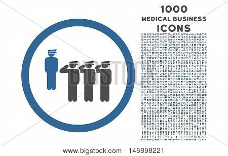 Army Squad rounded glyph bicolor icon with 1000 medical business icons. Set style is flat pictograms, cobalt and gray colors, white background.