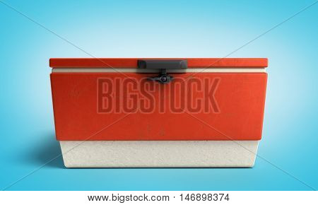 Beach Refrigerator Cooler Red 3D Render On Blue Gradient Background