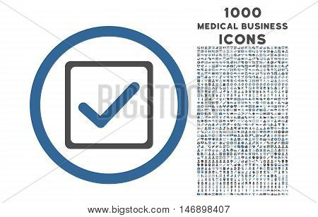 Checkbox rounded glyph bicolor icon with 1000 medical business icons. Set style is flat pictograms, cobalt and gray colors, white background.