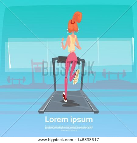 Sport Woman Jogging With Fitness Tracker On Wrist On Running Track Treadmill Exercise Workout Gym Flat Vector Illustration