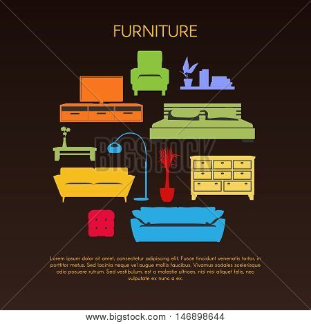 Colorful furniture round composition with sofas and bed drawers and coffee table on black background vector illustration