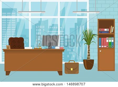 Modern office interior in blue color with brown furniture french window with city scenery vector illustration