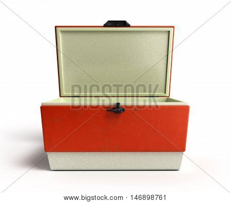 Open Beach Refrigerator Cooler Red 3D Render On A White Background