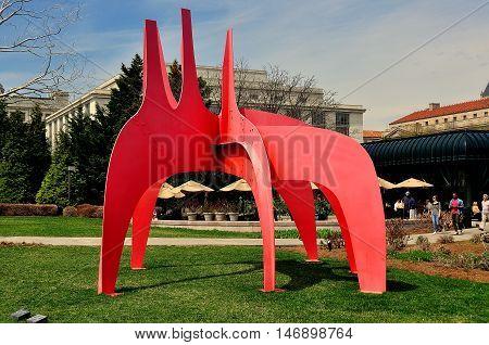 Waahington DC - April 11 2014: Alexander Calder sculputre in the National Gallery of Art Sculpture Garden *