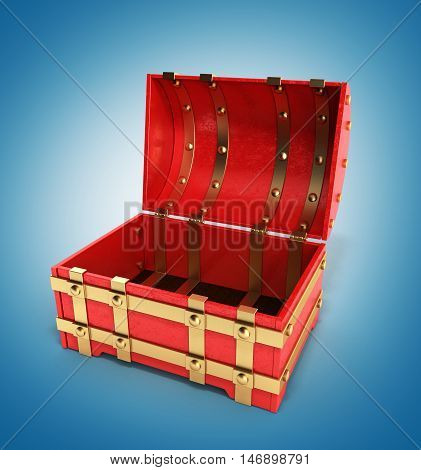 Open Red Chest Empty 3D Render On Gradient Background