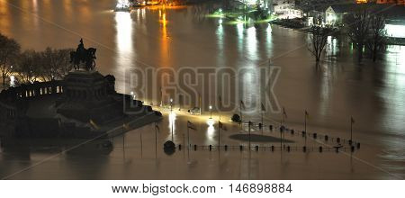 Koblenz City Germany flood historic German Corner where Rhine and moselle flow together 2