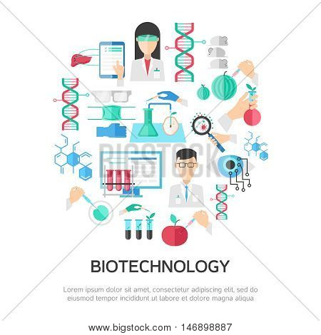 Biotechnology round composition with scientists dna and chemical formulas professional equipment bacteria and mice vector illustration