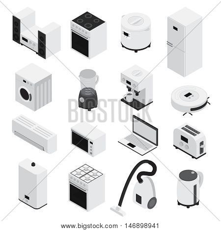 3d isometrics home appliances icon set small household appliances and large white and isolated vector illustration