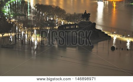 Koblenz City Germany flood historic German Corner where Rhine and moselle flow together 3