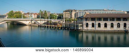 Panoramic long exposure morning view of Geneva city center.