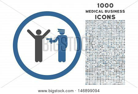 Police Arrest rounded glyph bicolor icon with 1000 medical business icons. Set style is flat pictograms, cobalt and gray colors, white background.