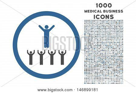 Religion Adepts rounded glyph bicolor icon with 1000 medical business icons. Set style is flat pictograms, cobalt and gray colors, white background.