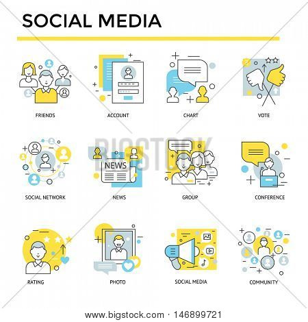 Social media icons, thin line, flat design