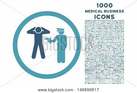 Arrest rounded glyph bicolor icon with 1000 medical business icons. Set style is flat pictograms, cyan and blue colors, white background.
