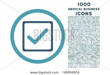 Checkbox rounded glyph bicolor icon with 1000 medical business icons. Set style is flat pictograms, cyan and blue colors, white background.