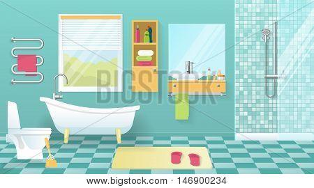 Modern bathroom interior with sanitary equipment yellow furniture window blue walls and tiled floor vector illustration
