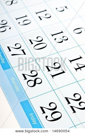 calendar with shallow depth of field