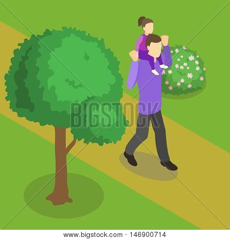 Family walking isometric design with father and baby daughter on his shoulders on nature background vector illustration
