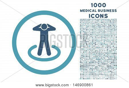 Prisoner rounded glyph bicolor icon with 1000 medical business icons. Set style is flat pictograms, cyan and blue colors, white background.