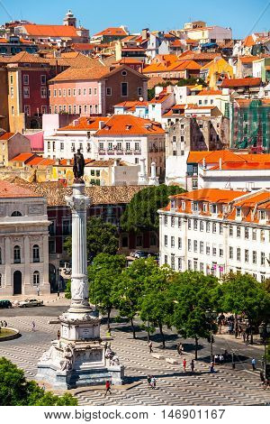 Aerial view of Lisbon Portugal during the sunny day