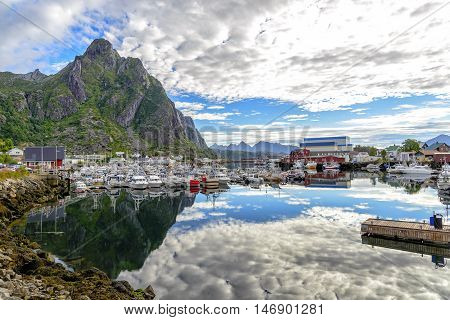 View of Svolvaer harbor, Norway. Svolvaer is located on the island of Austvagoya, in the Lofoten archipelago and over than the fishing industry, tourism is becoming increasingly important.