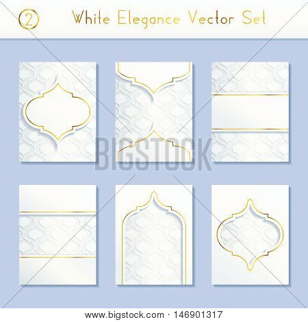 Set of 6 intricate and elegant white brochure designs with gold details. US Letter size. Easily croppable to A4 size. Graphics are grouped and in several layers for easy editing. The file can be scaled to any size.
