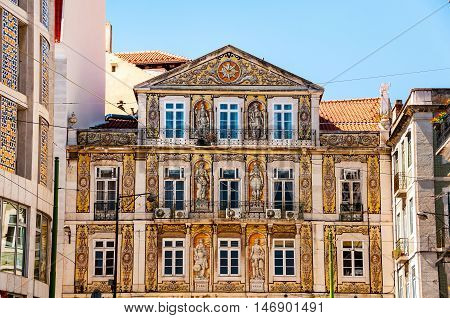 Facade of an old building with typical decoration in Lisbon Portugal