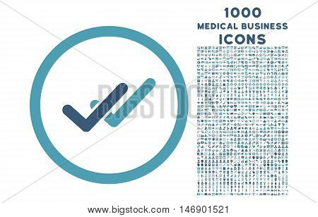 Validation rounded glyph bicolor icon with 1000 medical business icons. Set style is flat pictograms, cyan and blue colors, white background.