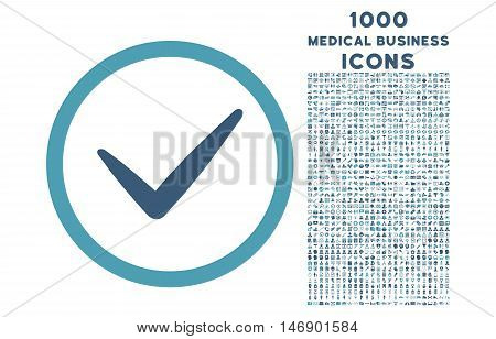Valid rounded glyph bicolor icon with 1000 medical business icons. Set style is flat pictograms, cyan and blue colors, white background.