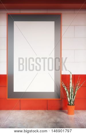 Modern red and white brick interior with large empty picture frame and decorative plant. Mock up 3D Rendering