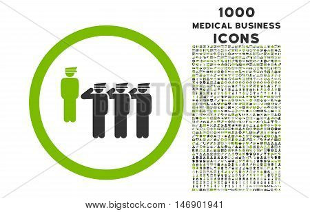 Army Squad rounded glyph bicolor icon with 1000 medical business icons. Set style is flat pictograms, eco green and gray colors, white background.