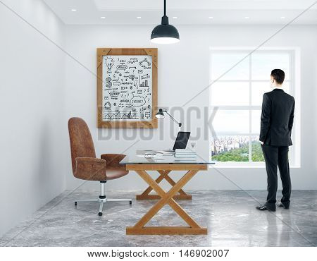 Young man looking out of window in modern office with workplace and business success sketch in picture frame. 3D Rendering