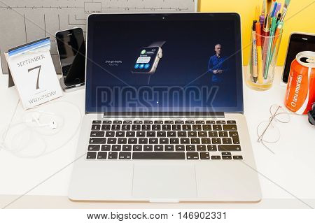 PARIS FRANCE - SEP 8 2016: Apple Computers website on MacBook Retina in room environment showcasing live coverage of Apple Keynote - 1000 nits apple watch display