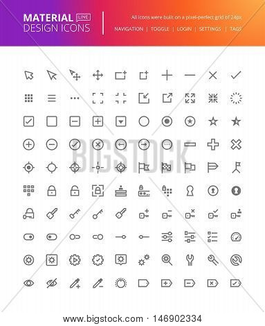 Material design icons set. Thin line pixel perfect icons for navigation, settings, buttons and toggles. Premium quality icons for website and app design.
