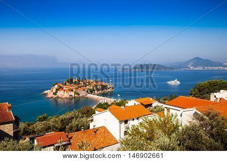 Sveti Stefan or Saint Stefan hotel resort on the Adriatic coast of Montenegro